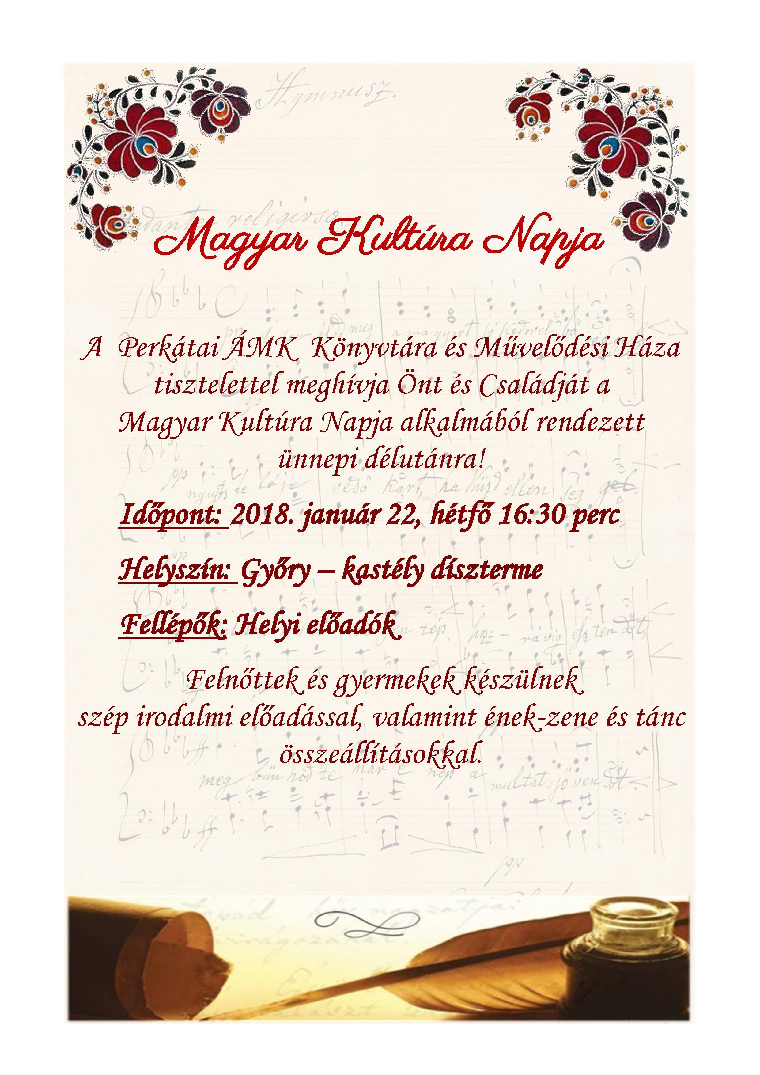 Magyar Kultúra Napja, Perkáta, 2018.01.22., 16:30 óra
