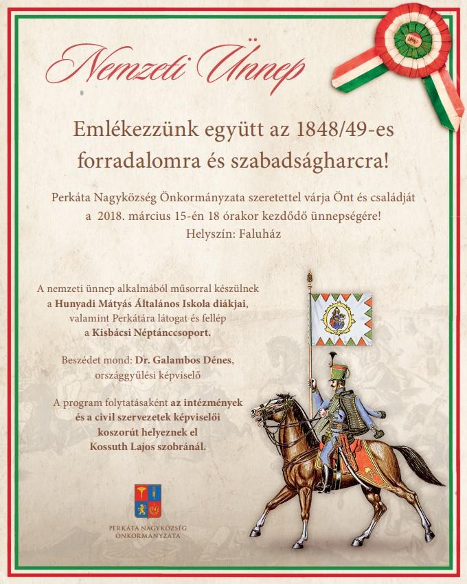 2018. március 15-i ünnepség plakátja Perkáta